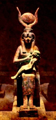 Grande Mãe Auset amamentando Heru.